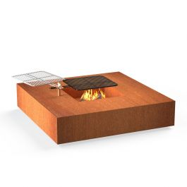 Corten Steel Square Fire Table With Grill by Adezz - 1.2m (4ft 1in)