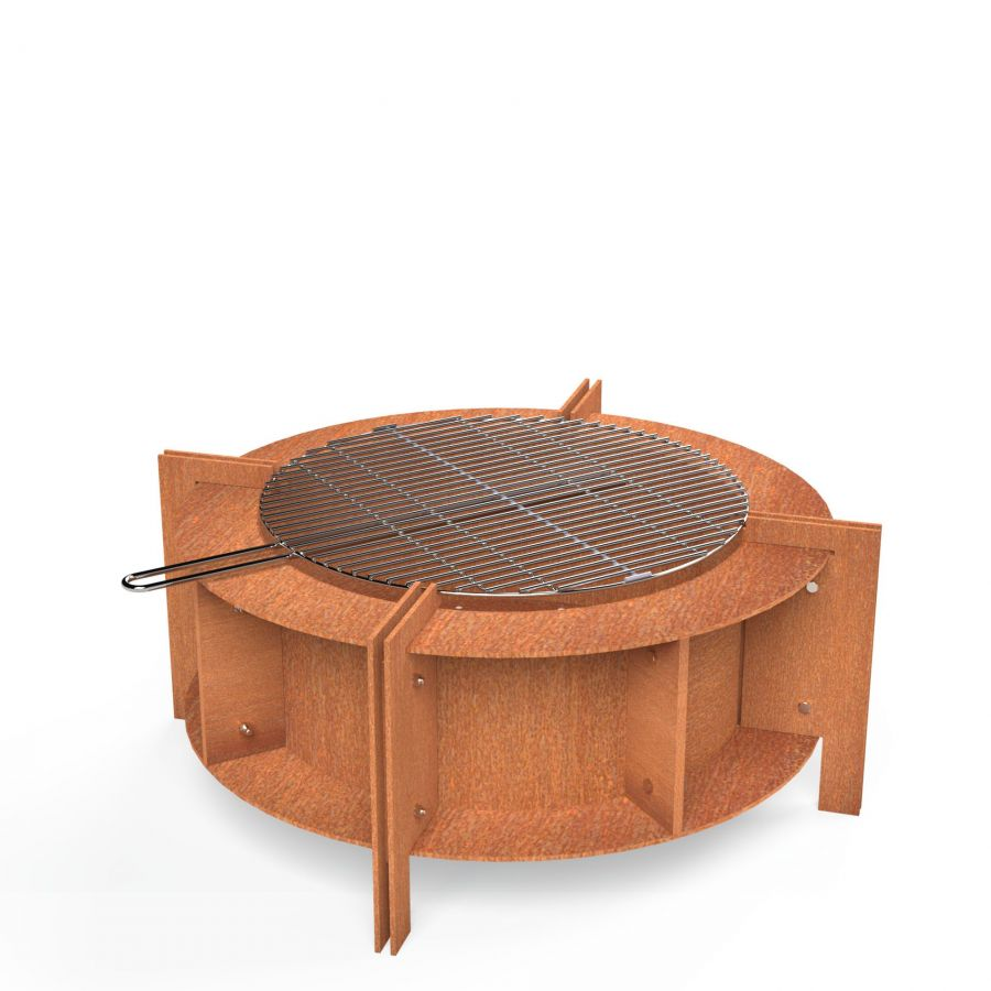 Corten Steel Round Fire Table With Grill  - 80cm (2ft 7in)