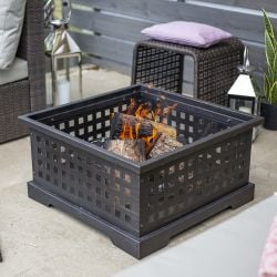 69cm Arbos Slated Black Square Steel Firepit by La Hacienda™
