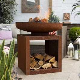 80cm Large Kuda Oxidised Steel Firepit with Log Storage by La Hacienda™