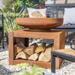 61cm Medium Kuda Oxidised Steel Firepit with Log Storage by La Hacienda™