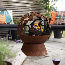 50cm Swallows Design Steel Fire Globe by La Hacienda™