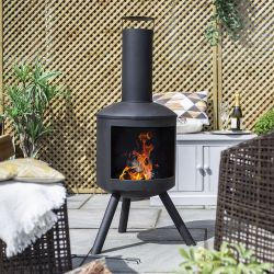 H127 x W58cm Barola Steel Chiminea by La Hacienda™