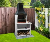 Firenze Charcoal Barbecue with Side Table H195cm x W95cm