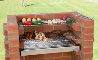 Black Knight 100% Stainless Steel Brick Barbeque Kit With Warming Rack - 67 x 39cm