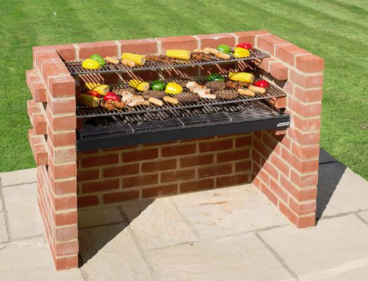 Black Knight Extra Large Brick Barbeque Kit With Warming Rack - 112 x 39cm