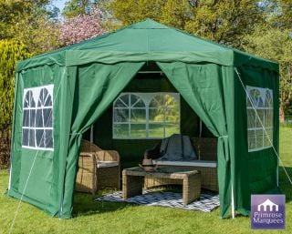 3.92m Budget Party Tent Green Gazebo with Side Walls