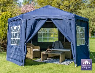 3.92m Budget Party Tent Blue Gazebo with Side Walls