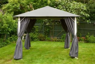 Vintage Full Steel Gazebo 3m x 3m - Grey