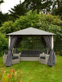 Vintage Full Steel Gazebo 4m x 3m - Grey