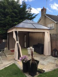 Square Polycarbonate All Weather Gazebo 2.5 x 2.5m - Bronze/Mocha