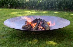 150cm Corten Steel Fire Pit and Water Bowl