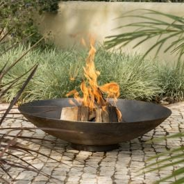 80cm Corten Steel Fire Pit and Water Bowl