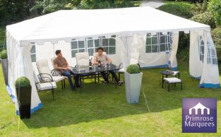 3m x 6m Blue and White Clarendon Party Tent - by Primrose™