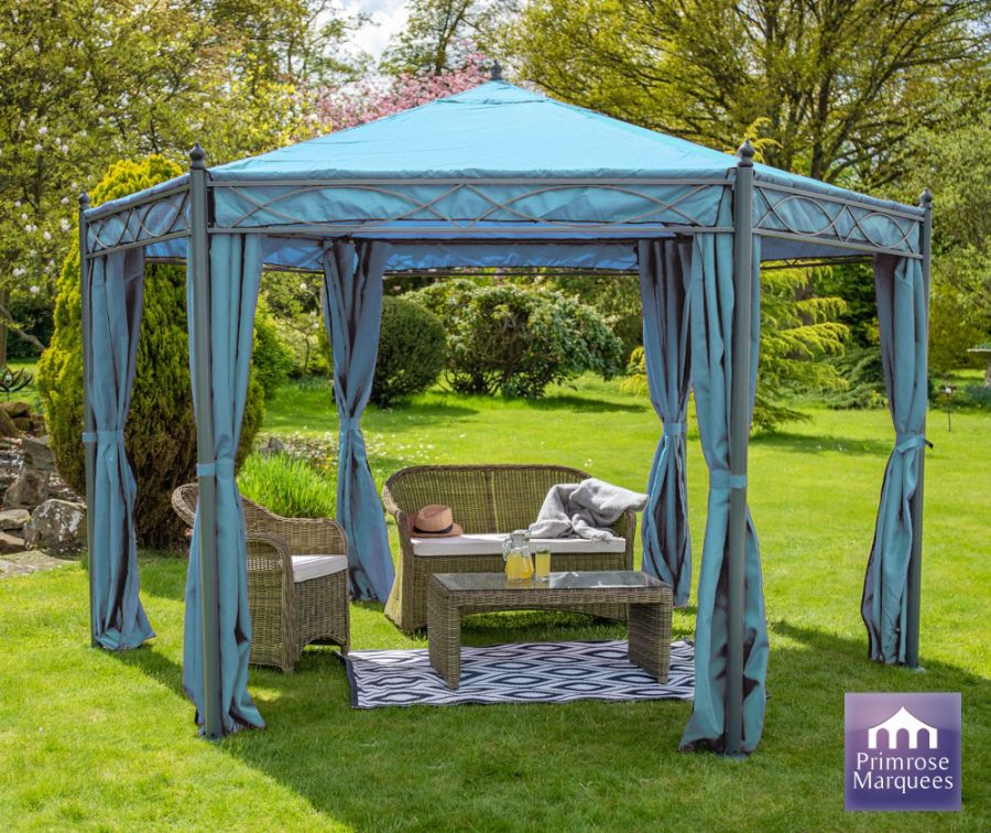 4m x 4m Anjuna Gazebo with Side Walls in Blue