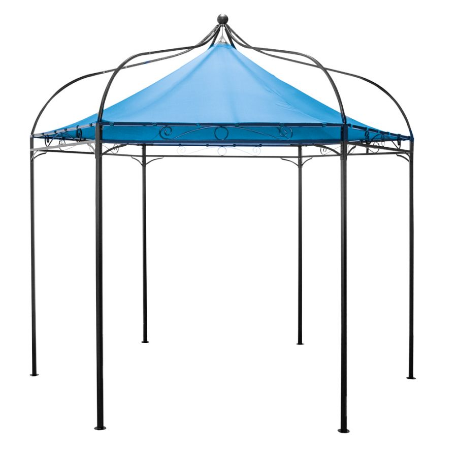 Harlington Deluxe Steel Frame Gazebo with Blue Roof Canopy