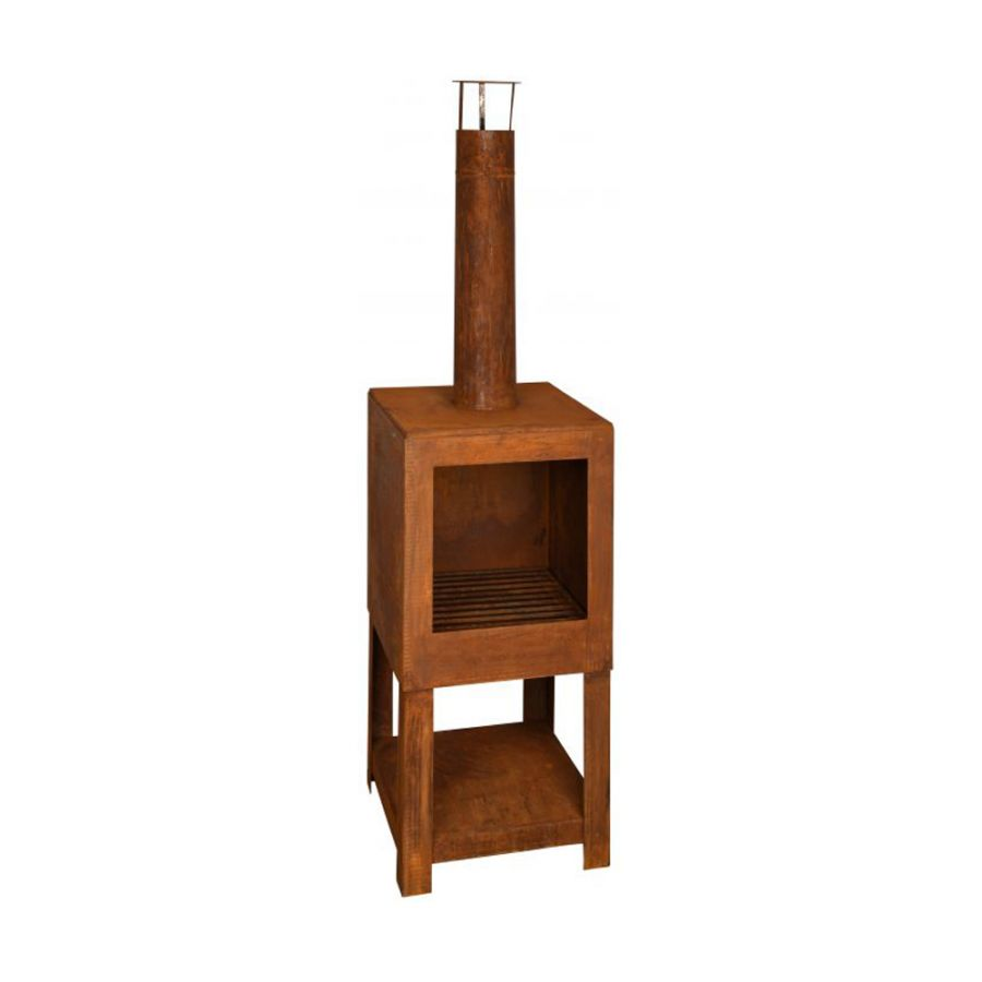 1.2m (3ft 11in) Rusty Wood Fired Terrace Heater With Wood Store