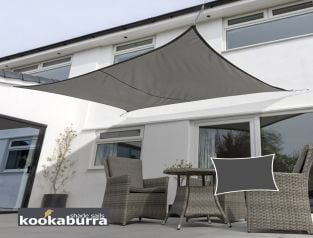 Kookaburra® 6mx5m Rectangle Charcoal Breathable Shade Sail (Knitted)