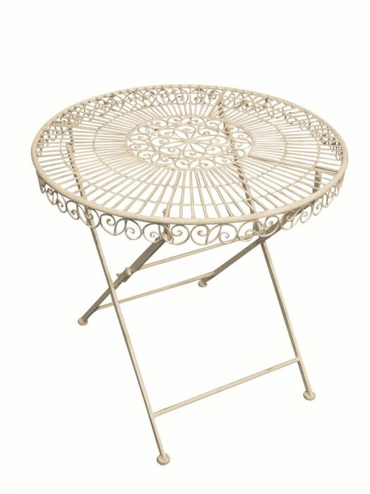 Outdoor Round Table, Cream -75cm