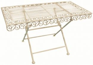 Outdoor Metal Coffee Table, White - 89cm