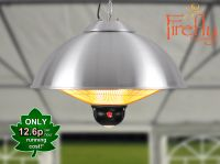 Firefly� 2.1kW Ceiling Mounted Silver Halogen Bulb Electric Infrared Patio Heater - Three Heat Settings with Remote Control