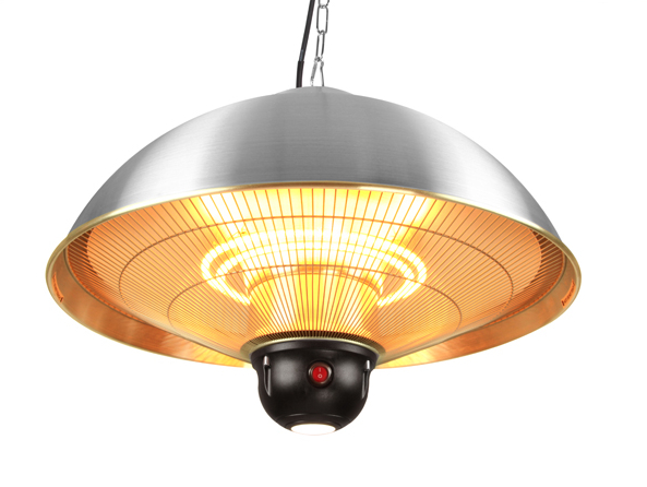 Firefly™ 2.1kW Ceiling Mounted Silver Halogen Bulb Electric Infrared Patio Heater - Three Heat Settings with Remote Control