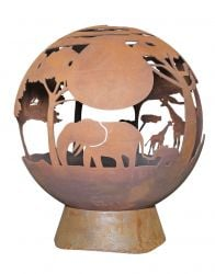 H90cm Africa Heavy Gauge Steel & Cast Iron Fireglobe - by La Hacienda™