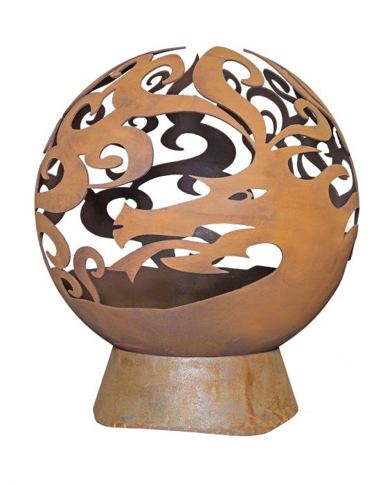 H90cm Dragon Heavy Gauge Steel & Cast Iron Fireglobe - by La Hacienda™