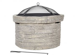 68cm Windermere Magnesia & Steel Stone Effect Fire Pit- by La Hacienda™