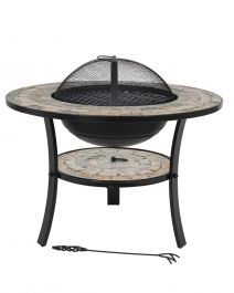 70cm Mykonos Ceramic & Steel Firepit - by La Hacienda™