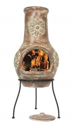 Medium Flower Clay Chimenea - H88 x D35cm - by La Hacienda™