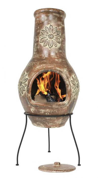 Large Flower Clay Chimenea - H111 x D44cm - by La Hacienda™