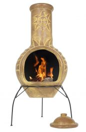 Large Sun Mexican Clay Chimenea - H110 x D44cm - by La Hacienda™