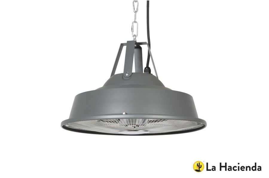 1.5kW IP24 Grey Retro Hanging Heater - H28 x D43cm - by La Hacienda™