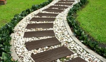 25 x 61cm - Rail Road Tie Stepping Stone Earth