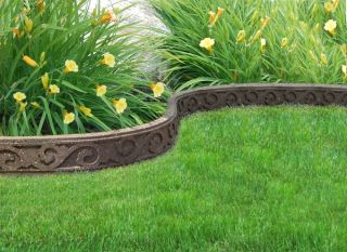 FlexiCurve Scroll Design Garden Edging (1x 1.2m) in Earth