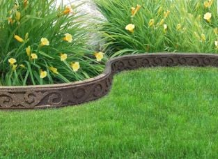 FlexiCurve Scroll Design Garden Edging (3x 1.2m packs) in Earth