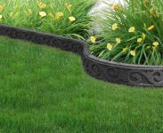 Flexi Curve SCROLL Garden Border with installation spikes Grey