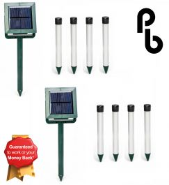 Set of 2 Mole Chaser 4 Stake Solar Mole Deterrent Kits by PestBye®