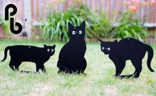 Set of 3 Cat Scarers Cat Silhouettes with Lifelike Eyes by PestBye™