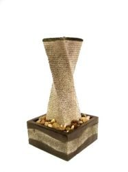 Granite Effect Twisted Tower Water Feature With LED Lights