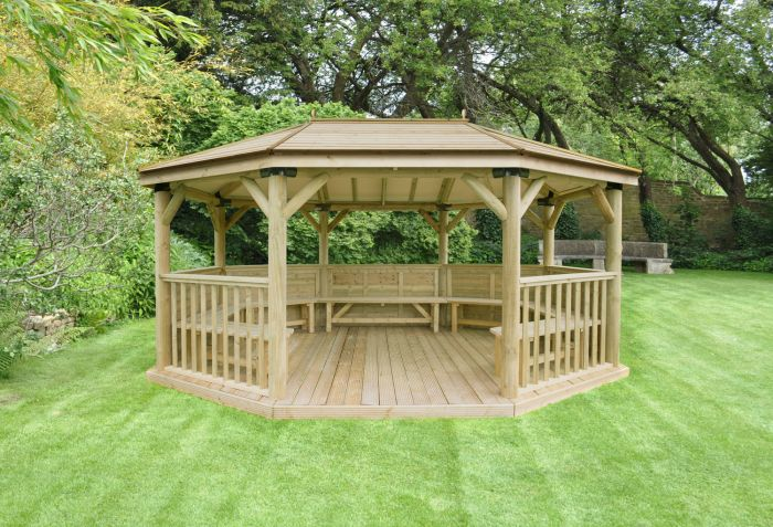 7ft (5.1m) Premium Oval Wooden Gazebo with Timber Roof and Benches