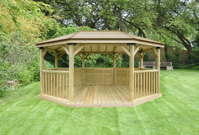 7ft (5.1m) Premium Oval Wooden Gazebo with Timber Roof