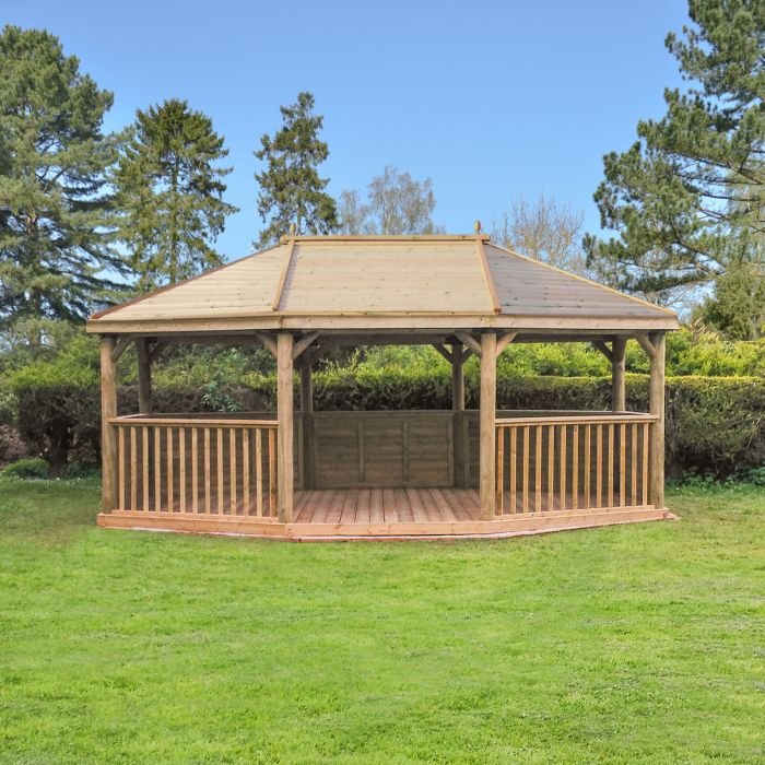20ft (6m) Premium Oval Wooden Gazebo with Timber Roof