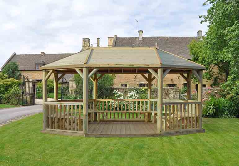 20ft (6m) Premium Oval Wooden Gazebo with Timber Roof and Benches