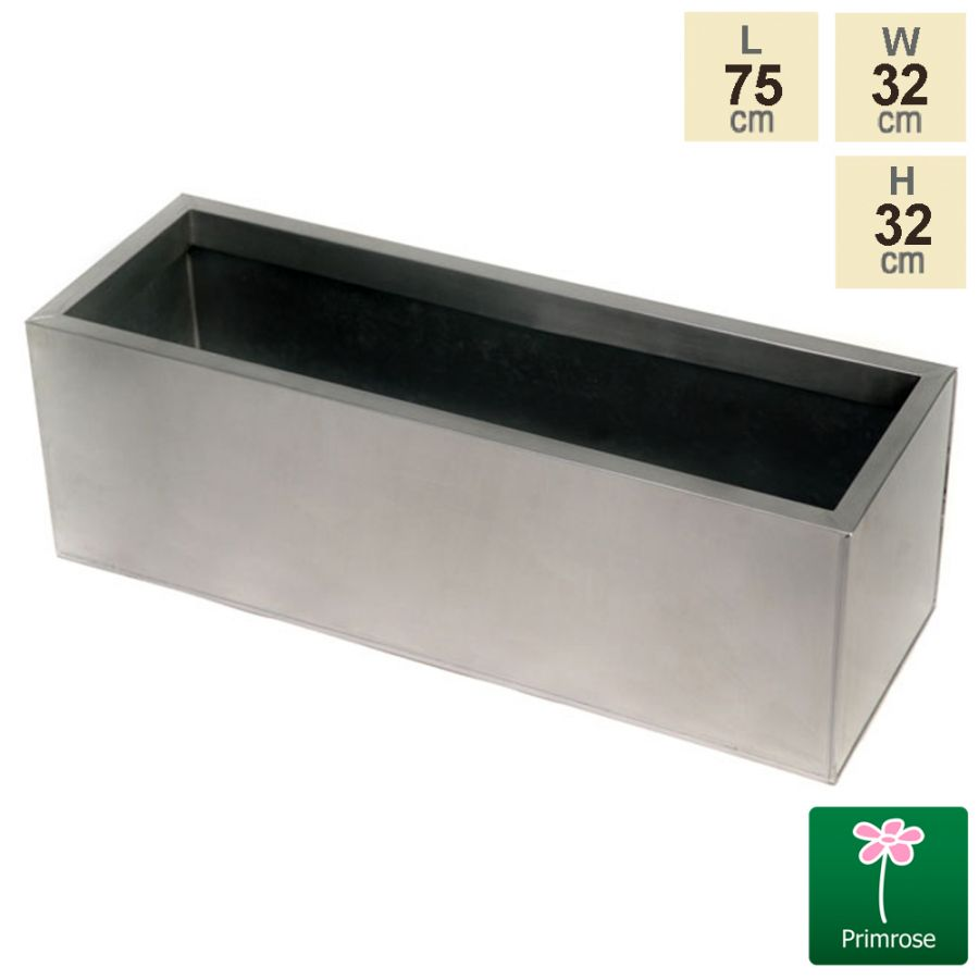 L75cm Zinc Galvanised Silver Trough Planter - By Primrose™