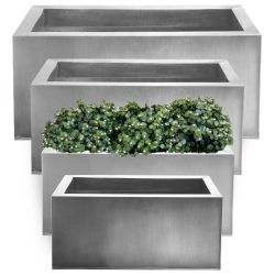 Set of L64cm, L70cm, L75cm & L1m Zinc Galvanised Silver Trough Planters - By Primrose®