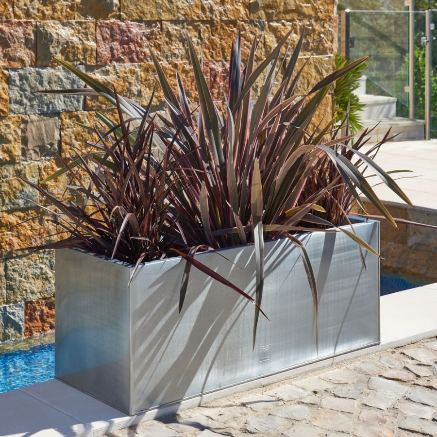 L100cm Zinc Galvanised Silver Trough Planter - By Primrose™
