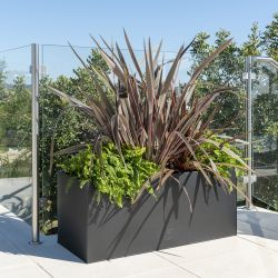 L100cm Zinc Galvanised Black Trough Planter - By Primrose™
