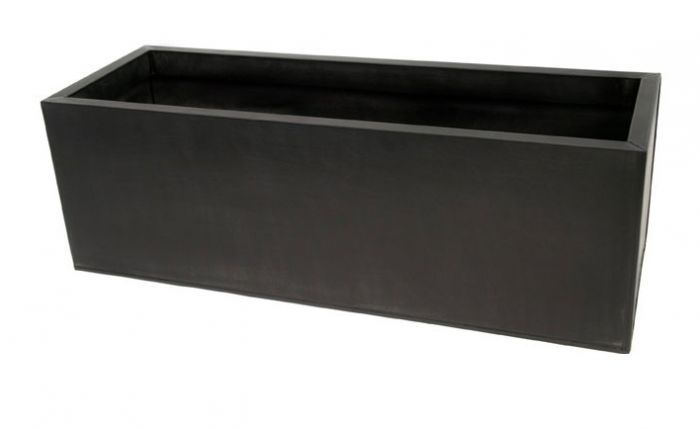L75cm Zinc Galvanised Black Trough Planter - By Primrose™